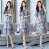 短袖洋裝 中大尺碼連身裙L-5XL新款夏氣質流行高端長裙雪紡碎花裙子長款顯瘦女裝R031.9297依品國際