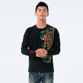 BigTrain 盛錦雲豹圓領長袖T-男-黑-B2036288