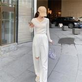 依米迦 早秋設計感小眾長袖針織開衫短款V領修身 均碼 2色