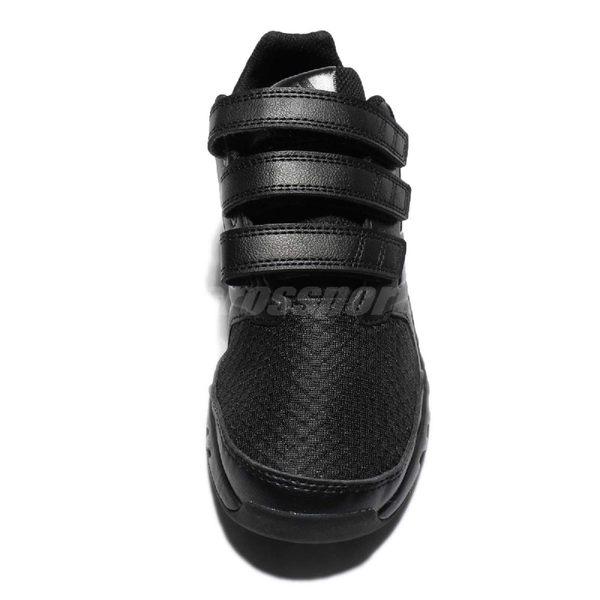 adidas 慢跑鞋 FortaGym CF K 黑 全黑 緩震舒適 魔鬼氈 運動鞋 童鞋 中童鞋【PUMP306】 BA7920