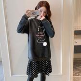 加絨加厚貓咪刺繡毛球下矲拼接雪紡洋裝-多尺碼 J2423 獨具衣格
