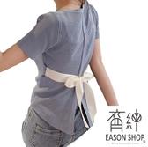 EASON SHOP(GW6447)韓版百搭坑條紋短版後背開衩蝴蝶結綁繩圓領短袖針織衫T恤女上衣服彈力貼身內搭衫