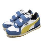 Puma 慢跑鞋 Cabana Racer SL V PS 白 藍 童鞋 中童鞋 魔鬼氈 【ACS】 36073280