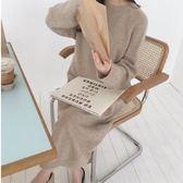 韓系針織毛衣保暖裙長版衣連身裙百搭款慵懶氣質純色寬鬆圓領2F112.9745胖胖唯依