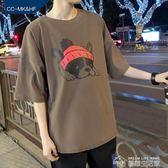 港風短袖T恤男韓版潮學生寬鬆bf男士ulzzang原宿風ins中袖五分袖  夢想生活家