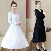 洋裝連身裙L-5XL大碼女裝2019秋季新款洋氣百搭寬鬆顯瘦長袖胖妹妹連衣裙3F032A-3103