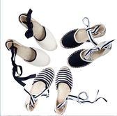 樂福鞋 條紋后跟綁帶漁夫鞋   女麻底涼鞋  女平底春季  瑪麗蘇