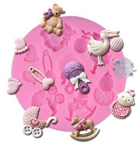 心動小羊^^DIY手工皂工具矽膠模具肥皂彌月娃娃車木馬送子鳥翻糖模翻糖、香磚、迷你皂模