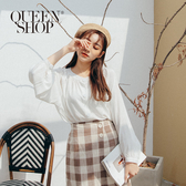Queen Shop【01096481】簡約素色排釦造型長袖上衣 兩色售*現+預*