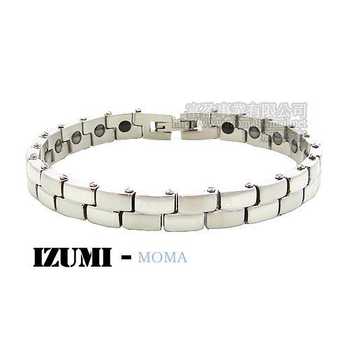 MOMA-【IZUMI】系列白鋼鍺磁手鍊-IS-001L窄版