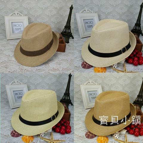 新品男童帽子草編紳士小禮帽兒童草帽夏天韓版潮帽男孩防曬帽 交換禮物