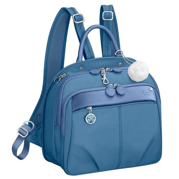 Kanana卡娜娜尼龍拼接皮革後背包S(水藍色)241008-15A