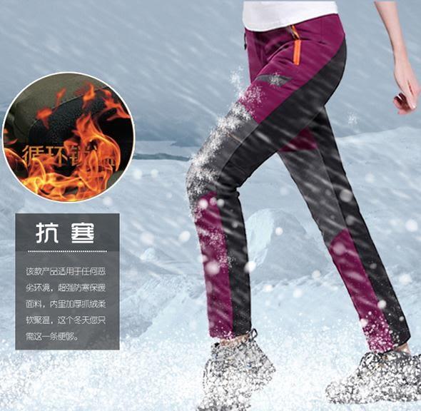 秋冬季戶外沖鋒褲男女款抓絨褲防水透氣登山褲大碼加絨防寒滑雪褲 茱莉亞