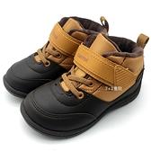 《7+1童鞋》中童 日本moonstar  輕量 防水 保暖  機能鞋 運動鞋 高筒鞋  C445  棕色