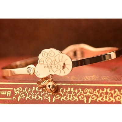 玫瑰金 鑲鑽純銀手環-招財小羊流行時尚生日情人節禮物女飾品71ap40【巴黎精品】