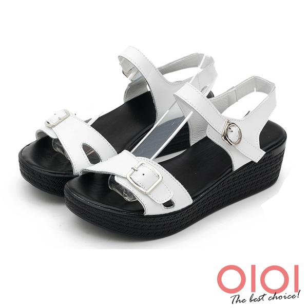 楔型涼鞋 個性涼夏純色真皮楔型涼鞋(白) *0101shoes 【18-D35w】【現貨】