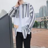 條紋襯衫男士襯衣長袖韓版潮牌寬鬆帥氣休閒外套學生衣服 『新年禮物』