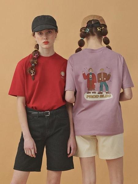 PROD短袖T恤女寬鬆圓領韓版 可愛黃發男女不一樣的情侶裝夏裝上衣 嬌糖小屋