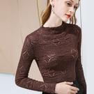 半高領蕾絲內搭長袖T恤性感鏤空上衣(二色S-3XL可選)/設計家 AL301337
