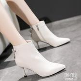 秋冬季高跟短靴女細跟白色靴子瘦瘦靴加絨尖頭馬丁靴女及踝靴 JY16911【潘小丫女鞋】
