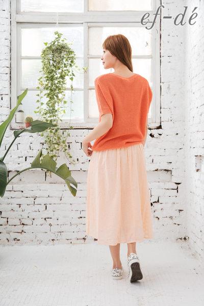 【ef-de】激安 縮口短袖素色薄針織衫(亮白/粉橘/深藍)