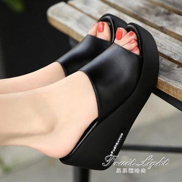 坡跟涼拖鞋女高跟厚底真皮一字拖外穿女涼鞋【果果新品】
