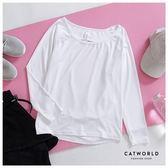 Catworld 拼接網紗後鏤空美背運動T【11304654】‧S-XL