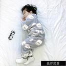 現貨秋冬兒童連身睡衣法蘭絨寶寶防踢防著涼嬰兒睡袋珊瑚絨加厚家居服【快樂】