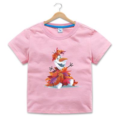 女Baby女童純棉T恤可愛雪寶短袖T恤粉色夏季T恤休閒上衣 歐美品質 現貨