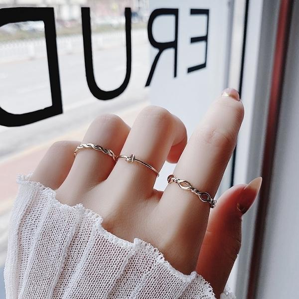 三件組.日系簡約編織麻花簍空戒指.白鳥麗子