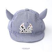 嬰兒童帽 小惡魔藍色條紋遮陽軟簷鴨舌帽 休閒百搭 魔鬼氈可調整 柒彩年代【NHC5】可愛牛角
