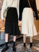 秋冬新款裙子中長款黑色魚尾裙半身裙女高腰復古不規則A字裙新品上新