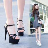 模特高跟鞋細跟性感黑色防水台恨天高超高跟涼鞋女夏 俏腳丫
