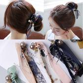 UNICO 韓國新款復古珍珠蝴蝶結小碎花丸子頭盤髮器