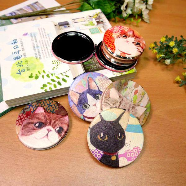 【貓粉選物】貓咪隨身鏡-黑貓 和風水彩系列 雙面鏡 化妝鏡 補妝鏡 小圓鏡