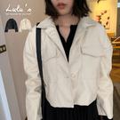 LULUS-M翻蓋口袋仿皮革外套-2色  【03190172】