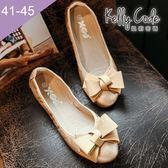 大尺碼女鞋-凱莉密碼-秋冬新色霧面緞帶蝴蝶結蛋捲平底鞋娃娃鞋1cm(41-45)【GL728-B8】金色
