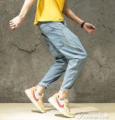 破洞牛仔褲男寬鬆休閒學生港風九分褲潮流哈倫褲小腳淺色褲子   提拉米蘇