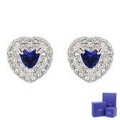 SWAROVSKI 施華洛世奇 125週年系列One璀燦藍水晶愛心銀色耳環 5511685