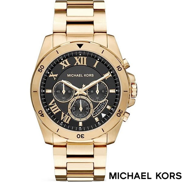 MICHAEL KORS MK8481 金黑大錶面羅馬時標三眼金錶 44mm 公司貨保固2年 | 名人鐘錶高雄門市