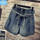 【V2911】shiny藍格子-甜搭印象.蝴蝶結綁帶大口袋牛仔短褲