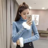 2018秋冬新款正韓喇叭袖套頭加厚打底針織衫修身顯瘦高領毛衣女潮