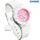 CASIO卡西歐 LRW-200H-4C 簡約格紋設計迷你潛水風指針運動錶 女錶 兒童手錶 粉x白 LRW-200H-4CVDF