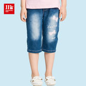 JJLKIDS 女童 復古刷白蝴蝶結牛仔六分褲(牛仔藍)