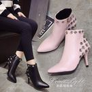 細跟裸靴尖頭皮靴公主粉色鉚釘花朵女鞋細跟高跟馬丁靴女短靴 果果輕時尚