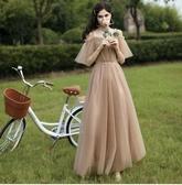 禮服伴娘服2020冬季簡約大氣香檳色森系姐妹團平時可穿小晚禮服女 雲朵走走