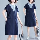 洋裝 連身裙文藝拼接假兩件休閒氣質褶皺娃娃領寬鬆洋氣短袖連衣裙