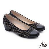 A.S.O 3E舒活寬楦 針織牛皮奈米低跟鞋  黑