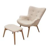 【JUSTBUY】北歐經典單人休閒沙發椅凳組(單人沙發椅+獨立腳凳)知性亞麻色