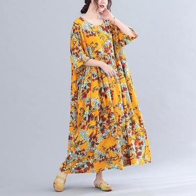 胖妹妹大碼洋裝連身裙~棉麻洋裝~文藝復古印花減齡寬松顯瘦超大短袖連身裙MC062胖妹大碼女裝
